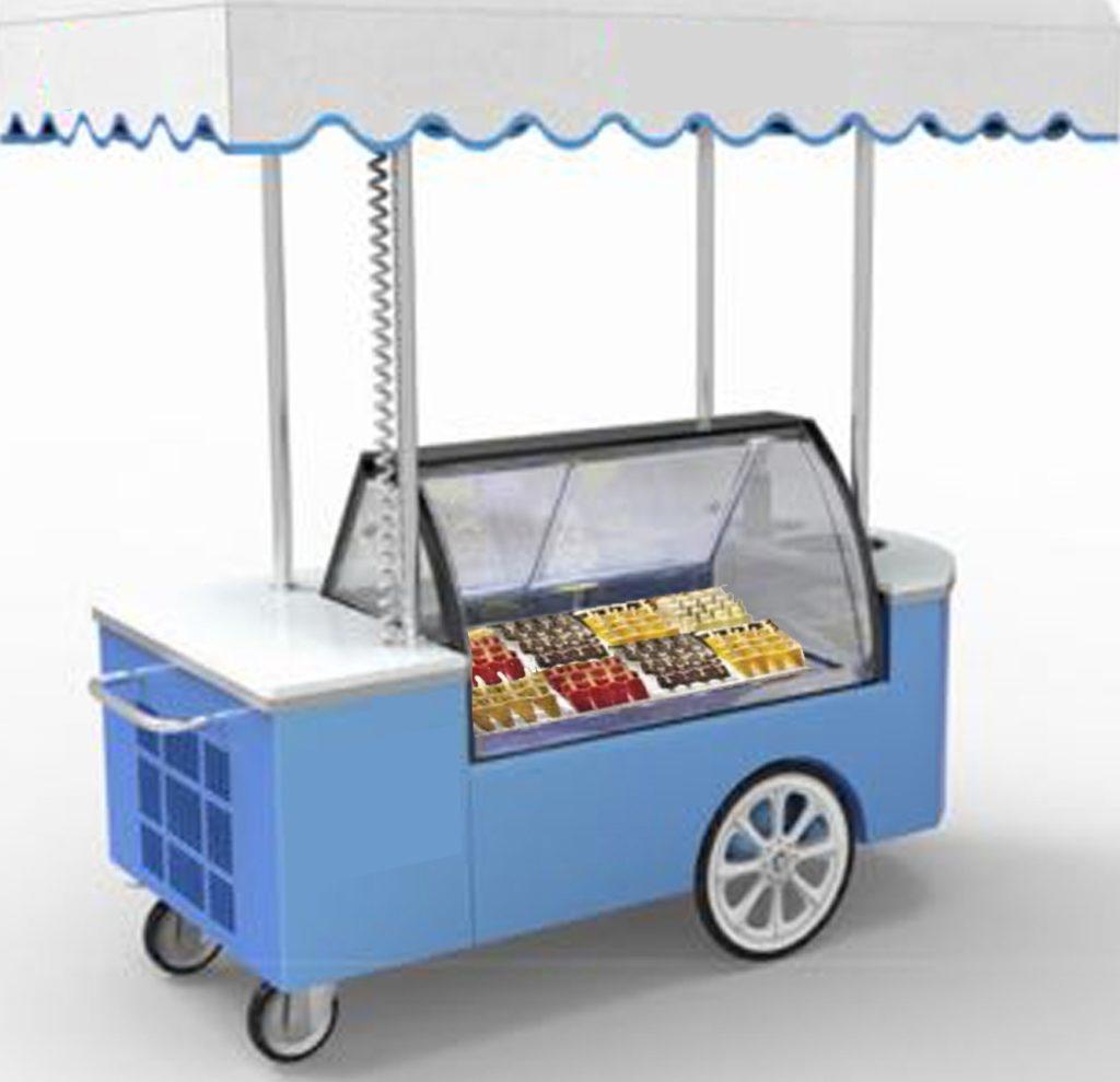 carretto vetrina per gelati ambulante per spiaggia, per feste, eventi